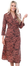 Influence Red Zebra Print Button Long Sleeve Dress