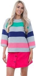 Brave Soul Grey Colour Block Stripe Knitted Jumper