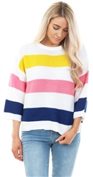 Brave Soul White Colour Block Stripe Knitted Jumper