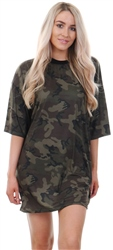 Lasula Camo Print Over Sized T-Shirt Dress