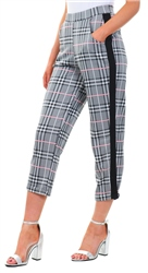 Missi Lond Black/White /Pink Check Tapped Trouser
