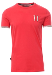 11degrees Red/Camo Mesh Print Logo T-Shirt