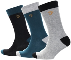 Farah Black/Bottle Green/Lt Darby 3 Pack Socks