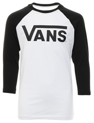 Vans White/Black Classic Raglan Long Sleeve T-Shirt