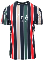 Pre London Navy/Red/Green Warstock Stripe T-Shirt