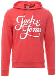 Jack & Jones Fiery Red Galions Logo Print Hoodie