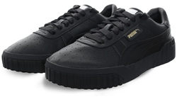 Puma Black - Black Cali Leather Lace Up Sneaker