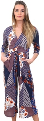 Lexie & Lola Navy Scarf Print Pattern Jumpsuit