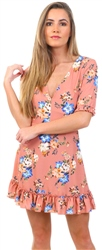Parisian Pink Floral Frill Detail Short Sleeve Mini Dress