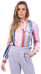 Pretty Darling Multi Stripe Pussy Bow Blouse