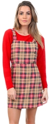 Miss Truth Beige Check Pattern Pinafore Dress