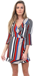 Lexie & Lola Blue/Red Stripe Wrap Front Mini Dress