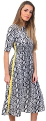 Missi Lond Black Midi Side Tape Snake Dress