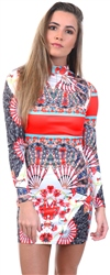 Parisian Multi Scarf Print High Neck Bodycon Mini Dress