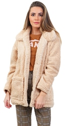 Brave Soul Caramel Heavenly Teddy Short Jacket