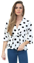 Lexie & Lola White/Black Spot Print Drape Top