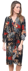 Ax Paris Black Printed V-Neck Wrap Dress