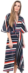 Ax Paris Multi Stripe Midi Wrap Tie Belt Dress