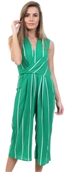 Ax Paris Green Stripe Cullotte Jumpsuit