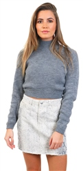 Glamorous Mid Grey Crop Knitted High Neck Jumper