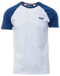 Superdry Ice Marl Orange Label Short Sleeve Baseball T-Shirt