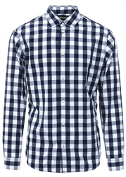 Jack & Jones White Navy Check Long Sleeved Shirt