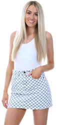 Momokrom White/Grey Checkered Board Print Skirt