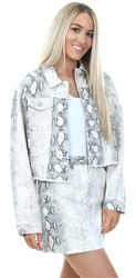 Momokrom Cream Snake Print Denim Jacket