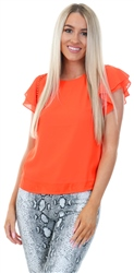 Cutie London Orange Crochet Frill Short Sleeve Top