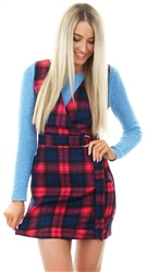 Miss Truth Pink / Navy Checked Pinafore Buckle Belt Dress