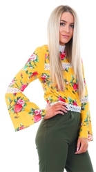 Cutie London Yellow Floral Lace Bell Sleeve Top