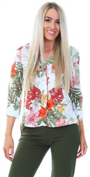 Cutie London White Green Floral Button Down Blouse