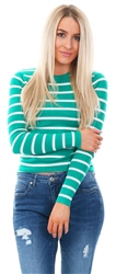 Brave Soul Jade/Ecru Stripe Knit Fitted Jumper