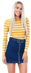 Brave Soul Mustard/Ecru Stripe Knit Fitted Jumper