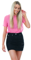 Noisy May Pink Sheer Short Sleeve Crew Neck Top