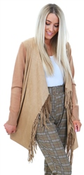 Style London Camel Waterfall Fringe Cardigan