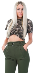 Glamorous Khaki Camo Print Twist Short Sleeve Top