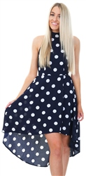 Mela Navy Polka Dot Hatler Dress