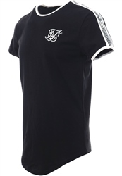 Siksilk Black S/S Curved Taped Runner Tee