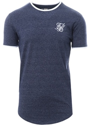 Siksilk Denim Marl/White Ringer S/Sleeve Tee