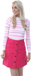 Qed Neon Pink Long Sleeve Stripe Rib Jumper