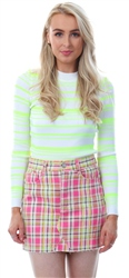 Qed White/Neon Yellow Long Sleeve Stripe Rib Jumper