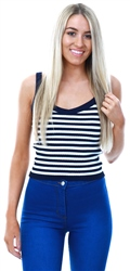Qed Navy/White Stripe Rib Vest Crop Top