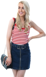 Qed Red/White Stripe Rib Vest Crop Top