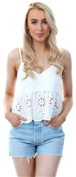 Parisian White Strappy Crochet Crop Top