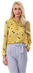 Cutie London Yellow Spot High Neck Tie Blouse