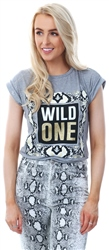 Parisian Grey Snake Print Wild One Short Sleeve T-Shirt