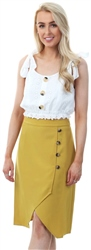 Style London Yellow Button Up Midi Wrap Skirt