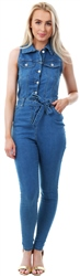 Parisian Midblue Button Up Denim Waist Tie Jumpsuit