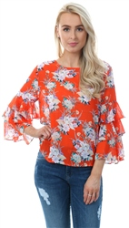 Style London Orange Floral Flare Sleeve Top